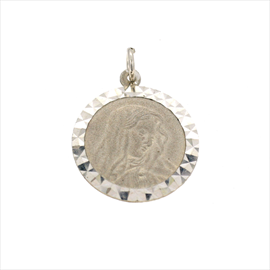 Silver Round Madonna, Diamond Cut Medal. Weight 1.9g