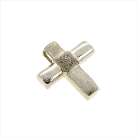 Silver Satin and Polished Cross