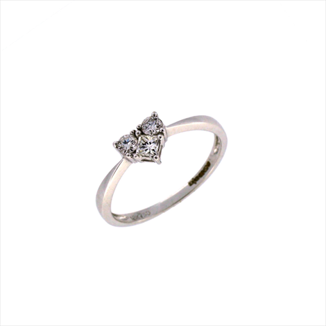 18ct White Gold 3 Stone Heart Shaped Diamond Ring