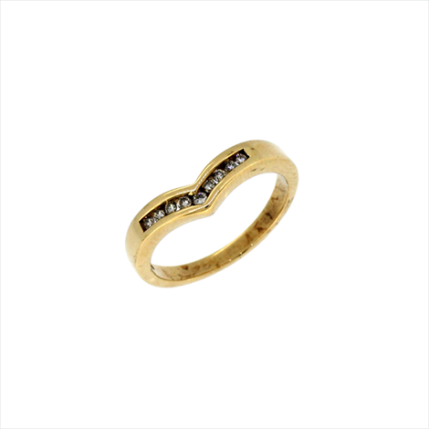 9ct Yellow Gold Second-hand Diamond Wishbone Ring. Weight 3g