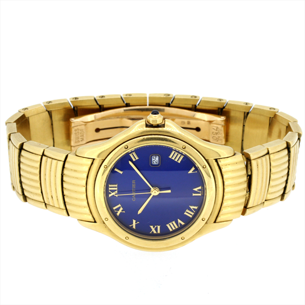 18ct yellow gold second hand men 39 s cartier cougar wrist watch. Black Bedroom Furniture Sets. Home Design Ideas